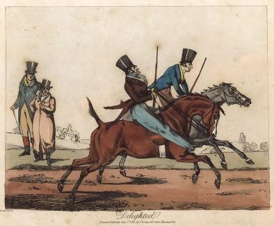 Два довольных джентльмена наслаждаются бегом своих лошадей. Из альбома знаменитого британского художника и гравёра Генри Томаса Алкена Henry Alken's Scrap Book. Лондон, 1827