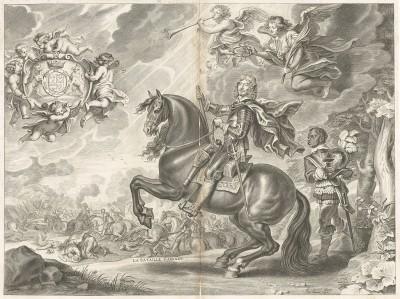 """Уильям Кавендиш, 1-й герцог Ньюкасл-апон-Тайн (1592-1676). На картуше девиз """"Honi soit qui mal y pense"""" - ст.-фр. """"Стыд тому, кто дурно об этом подумает"""". La methode nouvelle et invention extraordinaire de dresser les chevaux… л.1. Лондон, 1737"""