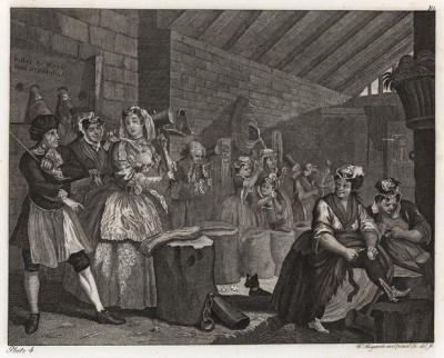 Карьера шлюхи, гравюра 3. «Сцена в Брайдвелле», 1732. Осужденная за проституцию, Молл вынуждена выполнять тяжелую работу в женской исправительной колонии в Брайдвелле. От компаньонок её отличает ухоженность и хорошее платье. Геттинген, 1854