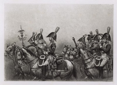 """Музыканты 4-го драгунского полка французской армии в 1813 году (иллюстрация к известной работе """"Кавалерия Наполеона"""", изданной в Париже в 1895 году)"""