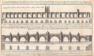 План реконструкции Лондонского моста, предложенный Шарлем Лабелем, швейцарским инженером-мостостроителем, в 1746 году.