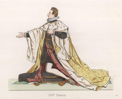 """Великий герцог Тосканы Козимо II Медичи (1590--1621) (лист 92 работы Жоржа Дюплесси """"Исторический костюм XVI -- XVIII веков"""", роскошно изданной в Париже в 1867 году)"""
