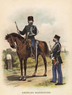 Голландские драгуны (иллюстрация к работе Onze krijgsmacht met bijshriften... (голл.), изданной в Гааге в 1886 году)