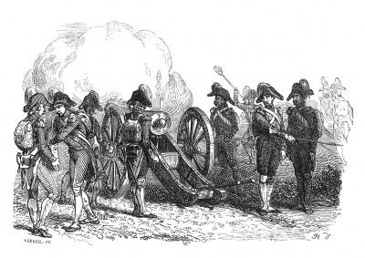 Итальянская кампания 1796-97 гг. Огонь 12-го артиллерийского полка армии Бонапарта решает исход сражения при Риволи 14-15 января 1797 г. Противник разбит, более четырех тысяч австрийцев взято в плен. Histoire de l'empereur Napoléon. Париж, 1840