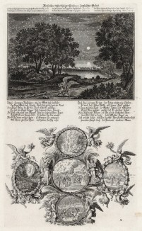 1. Битва Валаама с ангелом 2. Пять сцен из Ветхого Завета (из Biblisches Engel- und Kunstwerk -- шедевра германского барокко. Гравировал неподражаемый Иоганн Ульрих Краусс в Аугсбурге в 1694 году)