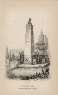 """Надгробный памятник на могиле Пьера Андрэ Латрея на кладбище Пер-Лашез (титульный лист XXXVII тома """"Библиотеки натуралиста"""" Вильяма Жардина, изданного в Эдинбурге в 1843 году)"""