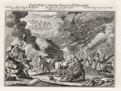 Смерть Елеазара, сына Саварона (из Biblisches Engel- und Kunstwerk -- шедевра германского барокко. Гравировал неподражаемый Иоганн Ульрих Краусс в Аугсбурге в 1694 году)
