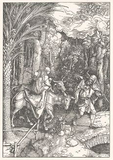 """Бегство в Египет. Ксилография, выполненная по гравюре Альбрехта Дюрера 1504 года из издания """"Albrecht Dürer. Sein Leben und einer Auswahl seiner Werke"""", Мюнхен, 1910 год"""