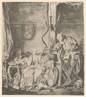 Счастливая семья, середина 1760-х гг.  Рисунок Жана-Батиста Грёза из собрания библиотеки Императорской Академии художеств.
