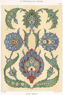 Роспись по керамике. XVI век. La Décoration Arabe. Extraits du grand ouvrage L'Art Arabe de Prisse d'Avesnes, л.51. Париж, 1885