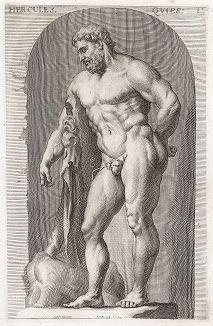 Геркулес Фарнезский из Терм Каракаллы. Лист из Sculpturae veteris admiranda ... Иоахима фон Зандрарта, Нюрнберг, 1680 год.
