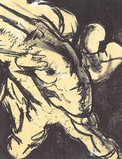 """Рука (La Main). Литография знаменитого Сальвадора Дали из серии, приуроченной к презентации его знаменитой картины """"Ловля тунца"""" (Tuna Fishing). На литографии представлен один из фрагментов этой картины. Манруж, Париж, 1967 год"""