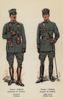 Капитан и сержант норвежской артиллерии в полевой форме (лист 5 работы Den Norske haer. Organisasjon bevaebning, og uniformsbeskrivelse, изданной в Лейпциге в 1932 году)