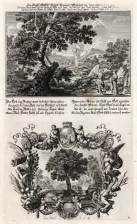 1. Ангел указывает путь Израилю 2. Ахиор у источника на пути в Ветилую (из Biblisches Engel- und Kunstwerk -- шедевра германского барокко. Гравировал неподражаемый Иоганн Ульрих Краусс в Аугсбурге в 1694 году)