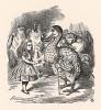 """Тут все снова столпились вокруг Алисы, а Додо торжественно подал ей наперсток и сказал: """"Мы просим тебя принять в награду этот изящный наперсток!"""" (иллюстрация Джона Тенниела к книге Льюиса Кэрролла «Алиса в Стране Чудес». Лондон, 1870 год)"""