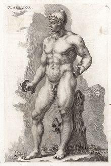 Гладиатор. Лист из Sculpturae veteris admiranda ... Иоахима фон Зандрарта, Нюрнберг, 1680 год.
