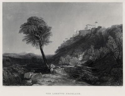 """Лоретто (лист из альбома """"Галерея Тёрнера"""", изданного в Нью-Йорке в 1875 году)"""