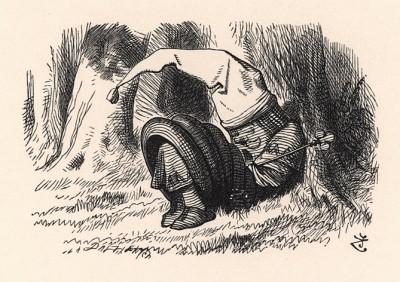 На Короле был красный ночной колпак с кисточкой и старый грязный халат, а лежал он под кустом и храпел с такой силой, что все деревья сотрясались (иллюстрация Джона Тенниела к книге Льюиса Кэрролла «Алиса в Зазеркалье». Лондон, 1870 год)