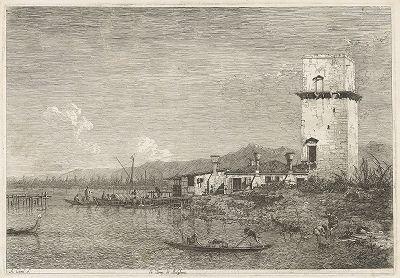 "Башня Мальгера. Офорт Каналетто (Антонио Канале ) из сюиты ""Vedute altre prese da i luoghi altre ideate da Antonio Canal"", 1742 год."