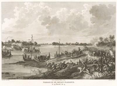 Переправа французской армии через реку По 19 апреля 1796 года с использованием парусных лодок. Tableaux historiques des campagnes d'Italie depuis l'аn IV jusqu'á la bataille de Marengo. Париж, 1807
