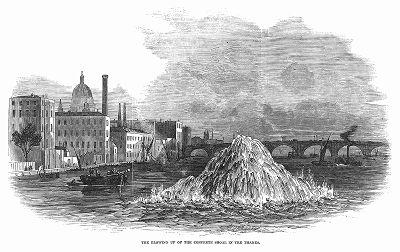 Взрыв в ходе дноуглубительных работ на реке Темзе, проводимых с целью очистки дна от наносов, препятствующих эксплуатации судоходного водного пути (The Illustrated London News №297 от 08/01/1848 г.)