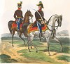 Штаб-офицер и полковой адъютант пограничной стражи австрийской империи (из K. K. Oesterreichische Armée nach der neuen Adjustirung in VI. abtheil. II te. Abtheil. Infanterie. Лист 9. Вена. 1837 год)