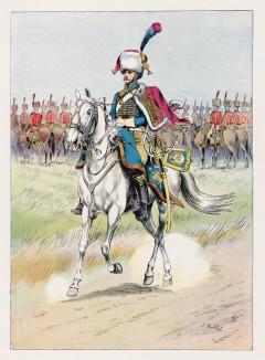 """Трубач гвардейских конных егерей в парадной форме (иллюстрация к работе """"Императоская Гвардия в 1804--1815 гг."""" Париж. 1901 год. (экземпляр № 303 из 606 принадлежал голландскому генералу H. J. Sharp (1874 -- 1957))"""