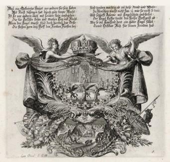 Борьба ангела и демона (из Biblisches Engel- und Kunstwerk -- шедевра германского барокко. Гравировал неподражаемый Иоганн Ульрих Краусс в Аугсбурге в 1694 году)