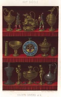 Фамильные ценности графа Лестера: бронзовые статуэтки ландскнехтов, чаши и керамические кувшины для вина (из Les arts somptuaires... Париж. 1858 год)