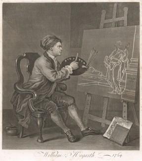 Автопортрет с Музой Комедии. Живописное полотно было написано в 1758 г. Гравюра 1764 г. (год смерти художника) отличается от картины: изменено лицо, у ног – трактат «Анализ красоты», Талия держит черную маску, а на пьедестале дата - 1764. Лондон, 1838