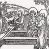 """Три жены у гроба (иллюстрация к книге """"Рыцарь Башни"""", гравированная Дюрером в 1493 году)"""