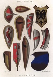 Средневековые французские щиты для конного боя: норманнский щит, тарч, павеза, рондаш и кулачный щит (из Les arts somptuaires... Париж. 1858 год)