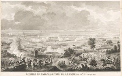 """Сражение при Маренго 14 июня 1800 года. Гравюра из альбома """"Военные кампании Франции времён Консульства и Империи"""". Campagnes des francais sous le Consulat et L'Empire. Париж, 1834"""