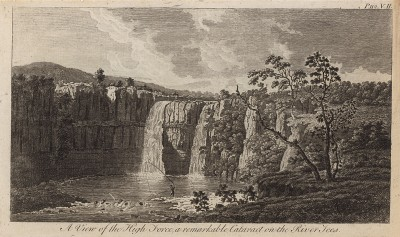 Водопад Хайфорс на реке Тиз в Англии (из A New Display Of The Beauties Of England... Лондон. 1776 г. Том 2. Лист 112)