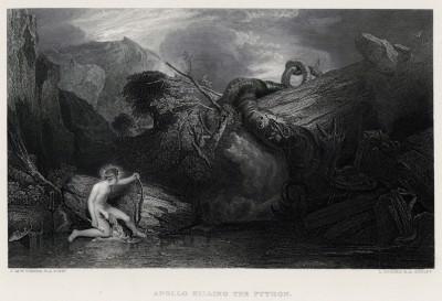 """Аполлон и Пифон (лист из альбома """"Галерея Тёрнера"""", изданного в Нью-Йорке в 1875 году)"""