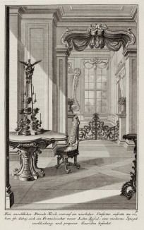 Парадный стол и стул по последней французской моде. Johann Jacob Schueblers Beylag zur Ersten Ausgab seines vorhabenden Wercks. Нюрнберг, 1730