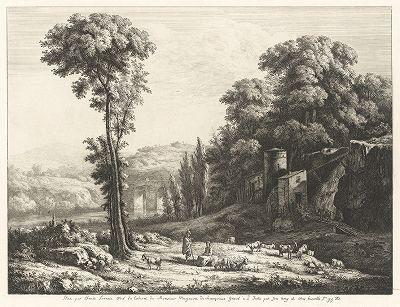 Сельский пейзаж. Офорт Жан-Жака де Буассье по оригиналу Клода Лоррена.