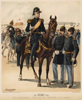 Генерал-майор и офицеры американской армии в парадной форме образца 1888 года (лист 34 одной из самых красивых серий хромолитографий конца XIX века, посвящённых военной форме. Издано в Нью-Йорке силами генерал-квартирмейстера армии США)