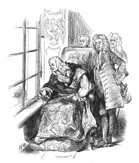 Король Англии Георг I (1660-1627), первый представитель Ганноверской династии на престоле Британии. Голова исполнена Адольфом Менцелем по ростовому портрету из замка Шарлоттенбург. Geschichte Friedrichs des Grossen. Лейпциг, 1842, с.31