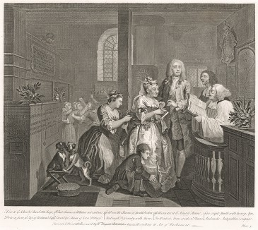 Карьера мота, гравюра V. «Женитьба на старой деве», 1735. Быстро промотав наследство, молодой человек решает поправить положение браком по расчету. Ради денег он женится на богатой старой деве. Лондон, 1838