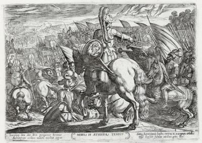 Моисей приказывает атаковать Эфиопию (из работы Testamento vecchio (лат.), изданной в Риме в 1660 году)
