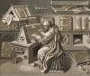 """Миниатюра из серии """"Чудеса Нотр-Дама"""", выполненная в технике гризайль: писарь работает над рукописью (из Les arts somptuaires... Париж. 1858 год)"""