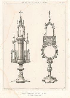 Французские монстранцы из позолоченного серебра, XV век. Meubles religieux et civils..., Париж, 1864-74 гг.
