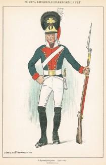 Солдат первого гренадерского полка шведской лейб-гвардии в униформе образца 1798-1807 гг. Svenska arméns munderingar 1680-1905. Стокгольм, 1911