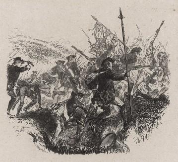 Атака прусской пехоты. Illustrations des œuvres de Frédéric le Grand, л.41. Лондон, 1882