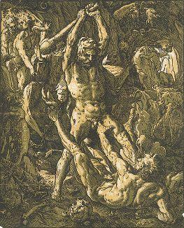 Геркулес и Какус. Кьяроскуро Гендрика Голциуса, 1588 год.