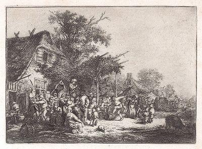 Танец под шпалерами. Офорт Адриана ван Остаде, 1653 год.