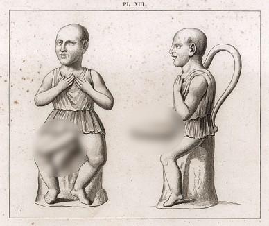 Дриллопота («карлик с большим пенисом»). Терракота, высота 1 фут 3 дюйма. Изображение ритуальной кружки – дриллопоты - в фас и в профиль. Фаллос карлика - краник для питья. Подобные кружки найдены в Чивите и Геркулануме.