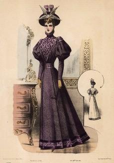 Яркое приталенное фиолетовое платье с рукавами-фонариками и оригинальная шляпа с перьями. Из французского модного журнала Le Coquet, выпуск 278, 1892 год