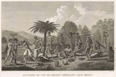 Европейцы, приглашённые на ужин к туземцам. Atlas pour servir à la relation du voyage à la recherche de La Pérouse, л.5. Париж, 1800